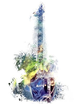 Katharine Hepburn - Electric Guitar watercolor instruments by Justyna Jaszke JBJart