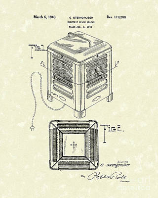 Drawing - Electric Heater 1940 Patent Art by Prior Art Design