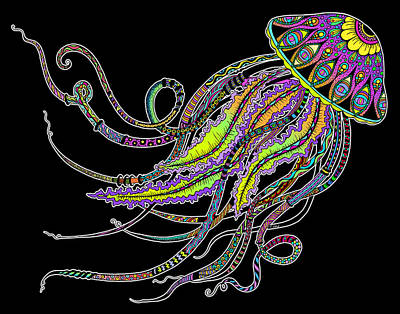 Drawing - Electric Jellyfish On Black by Tammy Wetzel