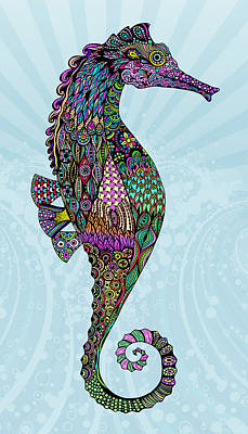 Drawing - Electric Lady Seahorse  by Tammy Wetzel
