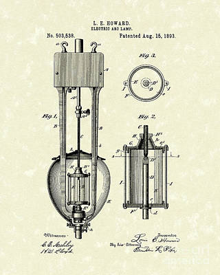 Drawing - Electric Lamp 1893 Patent Art by Prior Art Design