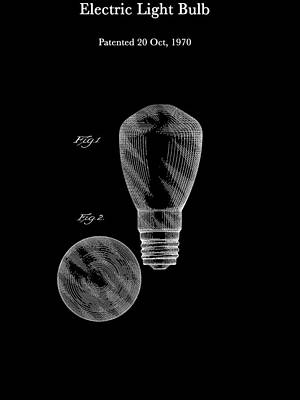 Electricity Drawing - Electric Light Bulb Patent 1970 by Mountain Dreams
