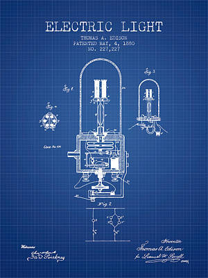 Electric Light Patent From 1880 - Blueprint Art Print
