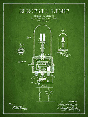 Electric Light Patent From 1880 - Green Art Print