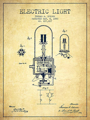 Edison Drawing - Electric Light Patent From 1880 - Vintage by Aged Pixel