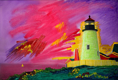Electric Lighthouse Art Print by Cindy McIntyre