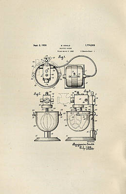 Drawing - Electric Mixer Patent From 1930 by Peggy Collins