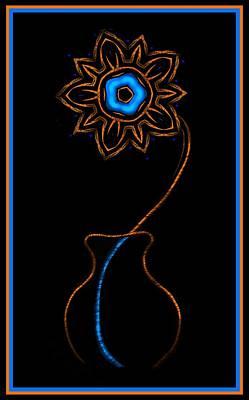 Digital Art - Electric Neon Blue Flower  by Marcela Bennett
