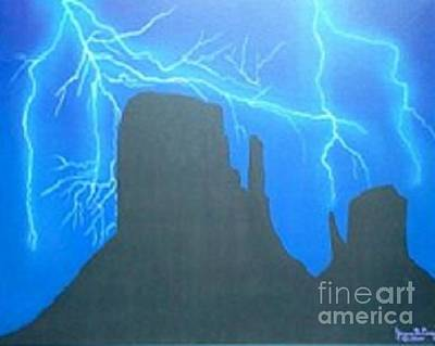 Yvonne Cacy Painting - Electric Night Monument Mittenvalley by Yvonne Cacy