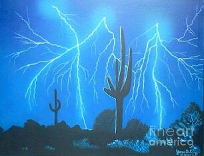Yvonne Cacy Painting - Electric Night by Yvonne Cacy