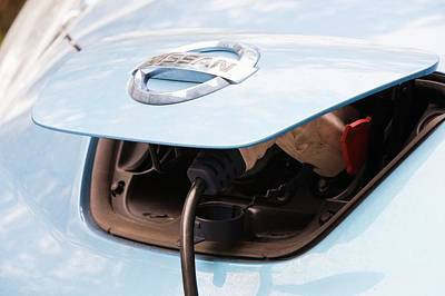 Electric Nissan Leaf And Charging Station Art Print