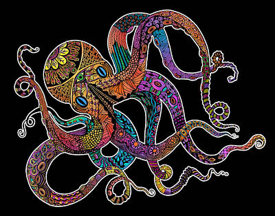 Psychedelic Drawing - Electric Octopus On Black by Tammy Wetzel