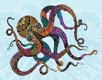 Psychedelic Drawing - Electric Octopus by Tammy Wetzel