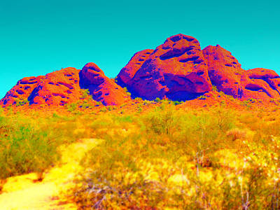 Mixed Media - Electric Papago Park by Michelle Dallocchio