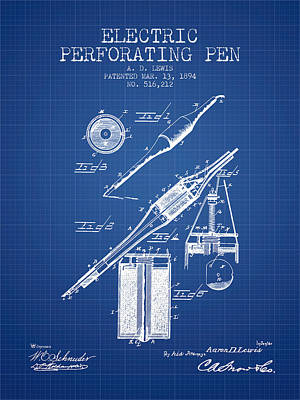 Electric Perforating Pen Patent From 1894 - Blueprint Art Print