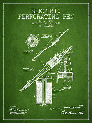Ball Pen Drawing - Electric Perforating Pen Patent From 1894 - Green by Aged Pixel