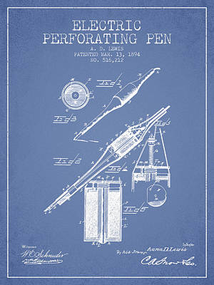 Ball Pen Drawing - Electric Perforating Pen Patent From 1894 - Light Blue by Aged Pixel