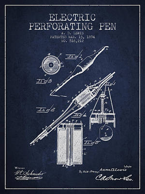 Ball Pen Drawing - Electric Perforating Pen Patent From 1894 - Navy Blue by Aged Pixel