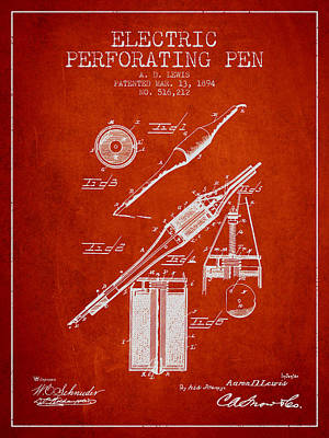 Ball Pen Drawing - Electric Perforating Pen Patent From 1894 - Red by Aged Pixel