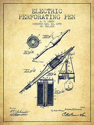 Ball Pen Drawing - Electric Perforating Pen Patent From 1894 - Vintage by Aged Pixel