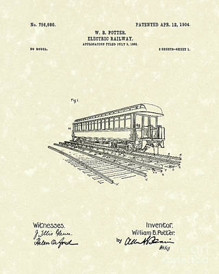 Drawing - Electric Railway 1904 Patent Art by Prior Art Design