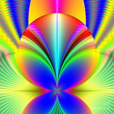 Electric Rainbow Orb Fractal Art Print by Rose Santuci-Sofranko