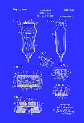 Electric Razor Drawing - Electric Razor Patent 1940 by Mountain Dreams