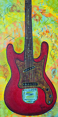 Fender Strat Painting - Electric Red by Robin Hillman