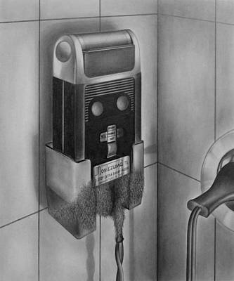 Drawing - Electric Shaver With Beard - Pencil by Art America Gallery Peter Potter