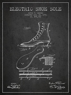 Shoe Digital Art - Electric Shoe Sole Patent From 1893 - Charcoal by Aged Pixel