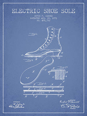 Footwear Digital Art - Electric Shoe Sole Patent From 1893 - Light Blue by Aged Pixel