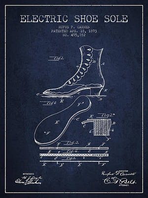 Shoes Digital Art - Electric Shoe Sole Patent From 1893 - Navy Blue by Aged Pixel