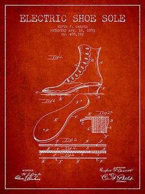 Electric Shoe Sole Patent From 1893 - Red Art Print by Aged Pixel