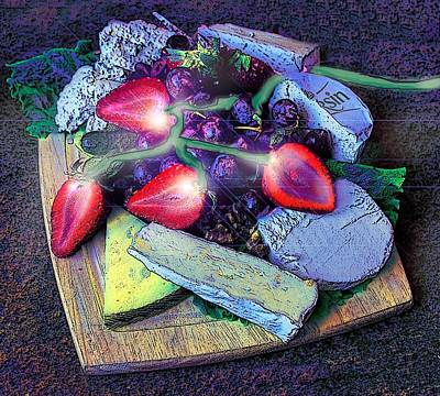 Purple Grapes Digital Art - Electric Strawberries by ARTography by Pamela Smale Williams
