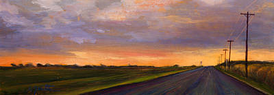 Roads Painting - Electric Sunset 2 by Athena  Mantle