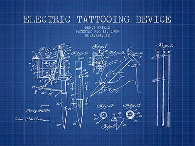 Pen Digital Art - Electric Tattooing Device Patent From 1929 - Blueprint by Aged Pixel
