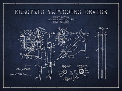 Electric Tattooing Device Patent From 1929 - Navy Blue Print by Aged Pixel