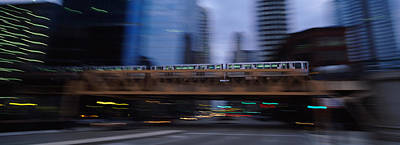 Electric Train Crossing A Bridge Art Print by Panoramic Images