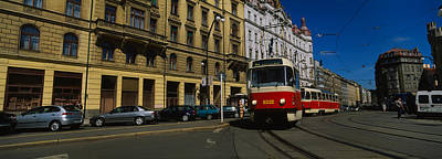 Electric Train On A Street, Prague Art Print