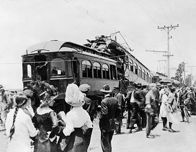 1910s Photograph - Electric Trains Collision by Underwood Archives