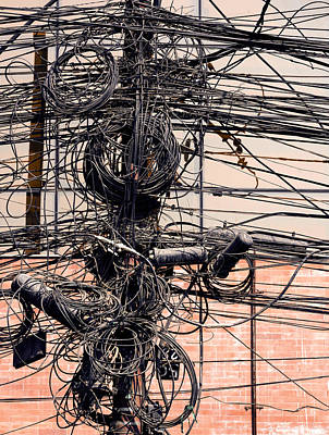 Mess Photograph - Electric Wires On A Post by Dutourdumonde Photography