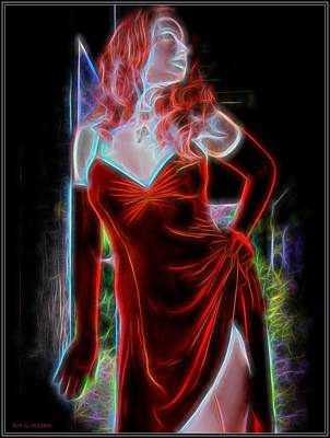Painting - Electric Woman In Red by Jon Volden