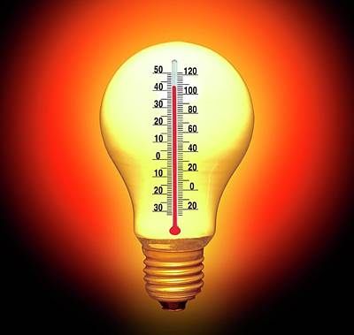 Thermometers Photograph - Electrical Lightbulb And Thermometer by Victor De Schwanberg