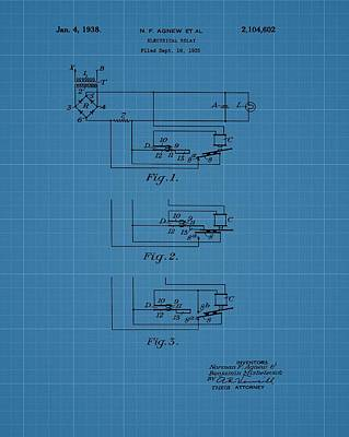 Electrical Relay Blueprint Patent Art Print by Dan Sproul