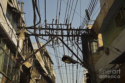 Electrical Wires In Old Delhi Art Print