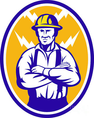Electrician Construction Worker Lightning Bolt Art Print by Aloysius Patrimonio