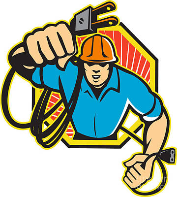 Electrician Construction Worker Retro Art Print by Aloysius Patrimonio