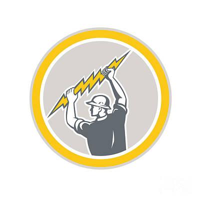 Electrician Holding Lightning Bolt Side Retro Print by Aloysius Patrimonio