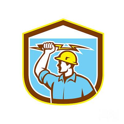 Electrician Holding Lightning Bolt Side Shield Print by Aloysius Patrimonio