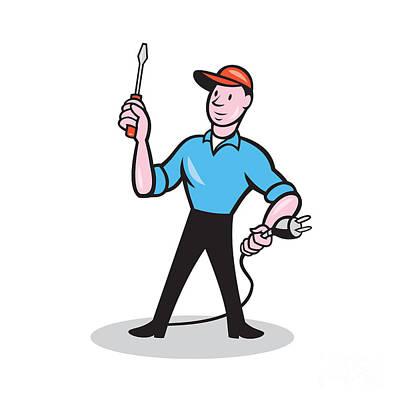 Electrician Holding Screwdriver Plug Cartoon Art Print